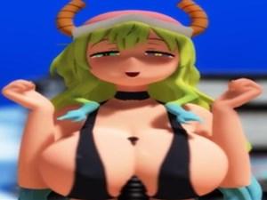 【3D微エロアニメ】小林さんちのメイドラゴンのルコアさんの巨乳でディルド使ったパイズリと手コキホールドダンス【MMD】