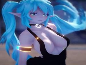 【ボカロMMD】エルフ耳で巨乳な初音ミクがおっぱいをばいんばいん揺らしながら踊る【3D微エロアニメ】