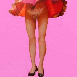 ヒラヒラのドレスが風でまくれてパンツとお腹が見えている
