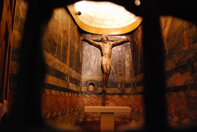 スペインバスク地方ザビエル城イエス像