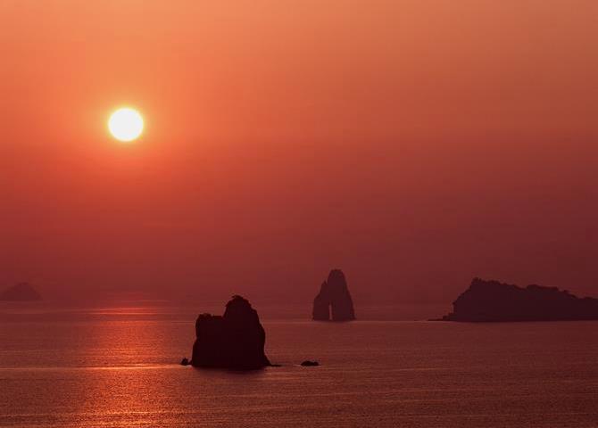 外海の夕日