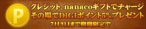 デジケット クレカ・nanacoギフトでチャージで5%ポイントプレゼントキャンペーン