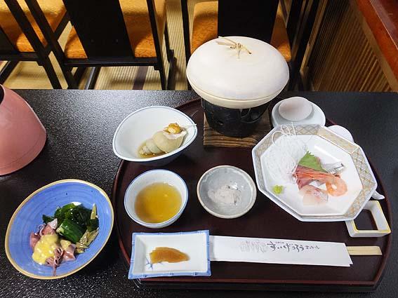 すいげつろうホテルの夕食(一部)