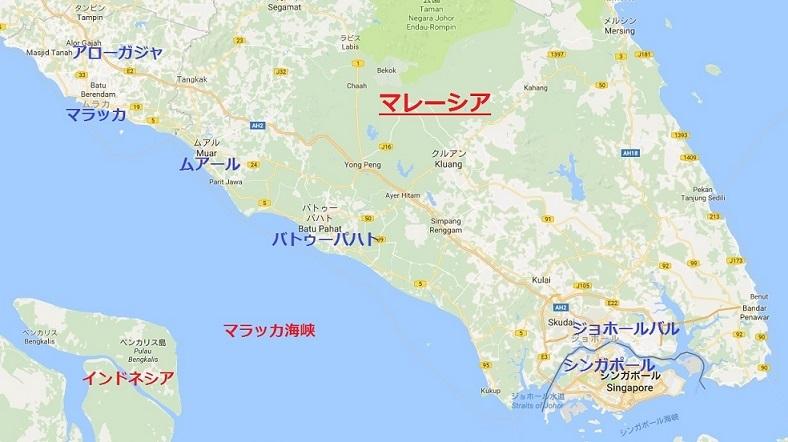シンガポールマラッカ地図