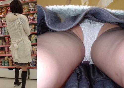 【素人尾行】スカートの奥まで手鏡で覗いたかの様に鮮明な逆さ撮りパンチラが凄いwww【画像30枚】