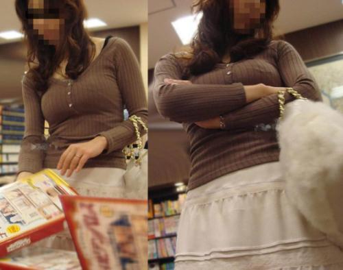 【着衣巨乳エロ画像】ドスケベなおっぱいの素人お姉さんの胸元に目線は釘付けwww