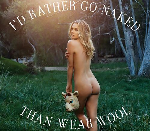 女優のアリシア・シルヴァーストーンが、ウール(羊毛)反対キャンペーンの広告でお尻ぬーどを披露wwwwww