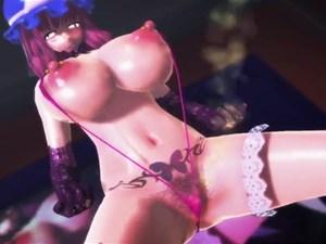 【3Dエロアニメ】 乳首ピアスした巨乳な西行寺幽々子の乱交セックスエロダンス【東方MMD】