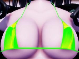 【艦これMMD紳士】摩耶の肉感がエロい巨乳、お尻、太ももがプルプルしてるビキニ水着ダンス【3D微エロアニメ】