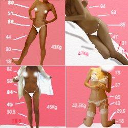 体重の違うときの4つの全身の写真