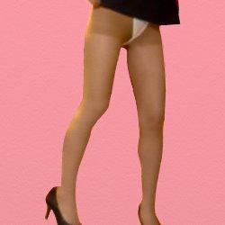 ミニスカのOLがスカートをまくり上げパンツまるみえ状態で立っている