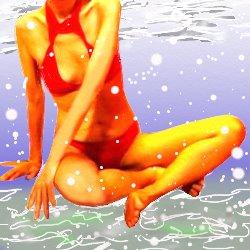 赤いセパレートの水着で水中にいる