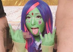 (マニア、フェチ必見)全身緑色!? 緑色の肌をしたギャルとの3P中出しセックス!! 【tube8】