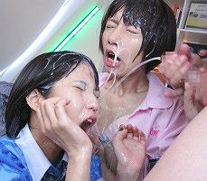 ショートカット激カワ美女2人が世界一大量射精する男性とエッチ! 可愛い顔がドロドロのザーメンまみれに!! 【tube8】