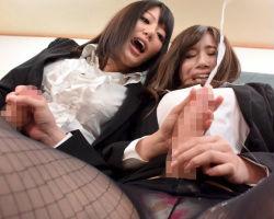 巨乳美人女教師2人にチンポが生えてきた!? お互い快楽の抑制ができずに暴走ふたなりセックス!!