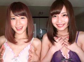 激カワ美女のレズカップルが濃厚奉仕をしてくれる、3P中出しセックス!!