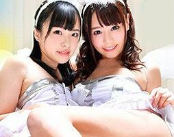 激カワ美女2人のマンコと太ももの間に勃起チンポを擦り付けて射精! 太ももに垂れ流れるザーメンがエロい!!