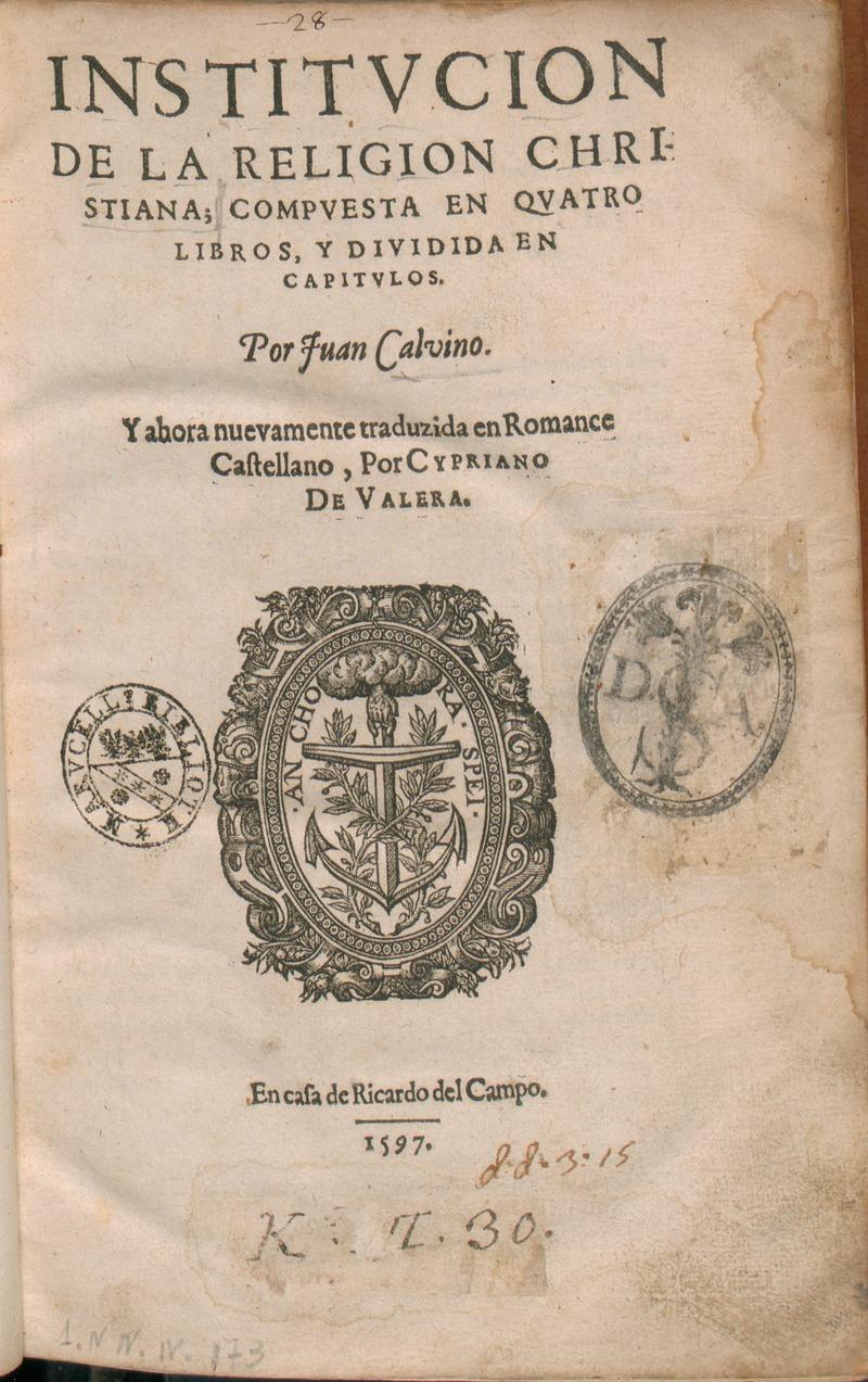 キリスト教綱要表紙 1597