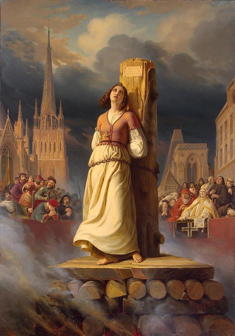 ヘルマン・スティルケが1843年に描いた『火刑台のジャンヌ・ダルク』(エルミタージュ美術館、サンクトペテルブルク)。