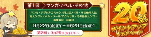 DLサイト 20%ポイントアップキャンペーン (マンガ・ノベル・その他)