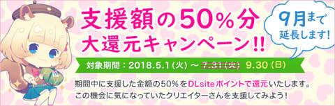 DLサイト 「Ci-en」 支援額の50%分 大還元キャンペーン  延長開催中