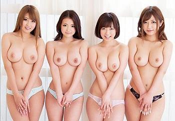 さとう遙希・北川瞳・尾上若葉・鶴田かな 巨乳の贅沢女優4人と中出しハーレム乱交!