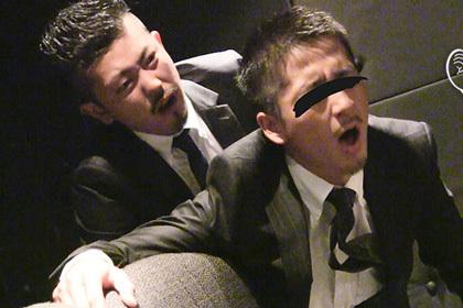 ド淫乱ゲイリーマン同士がスーツ着たままハッテン映画館で雄交尾!