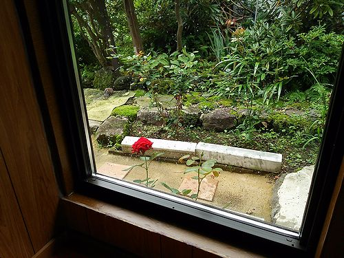 20170820草津温泉民泊花栞(はなしおり)玄関横から見えるイングリッドバーグマン