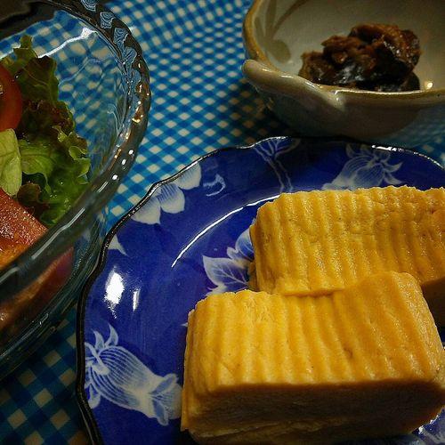20170903草津温泉民泊花栞(はなしおり)朝食だし巻き卵、ナスの油味噌