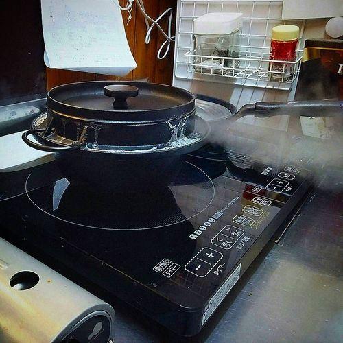 20170903草津温泉民泊花栞(はなしおり)朝食鉄釜で炊きたてご飯