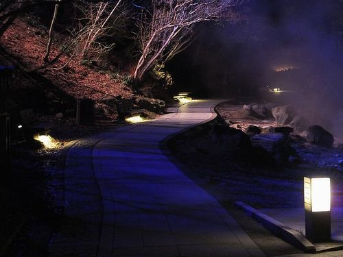 20171127草津温泉、西の河原公園のライトアップと足湯3