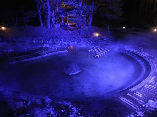 20171127草津温泉、西の河原公園のライトアップと足湯4