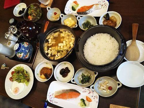 20180507草津温泉民泊花栞(はなしおり)今朝の宿泊のお客様の朝食