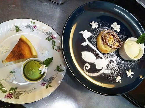20180510草津温泉カフェ花栞(はなしおり)スイーツメニュー、チーズケーキ、アップルパイ