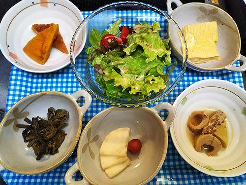 20180529草津温泉民泊花栞(はなしおり)今朝の宿泊のお客様の朝食のお惣菜