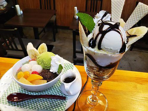 20180618草津温泉カフェ花栞(はなしおり)白玉クリームあんみつ、チョコバナナパフェ (1)