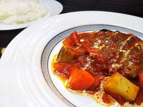 20180709草津温泉カフェ花栞(はなしおり)トマトソース煮込みハンバーグ