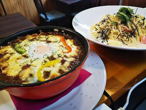 20180712草津温泉カフェ花栞(はなしおり)特製焼きカレー、明太子クリームスパゲティ