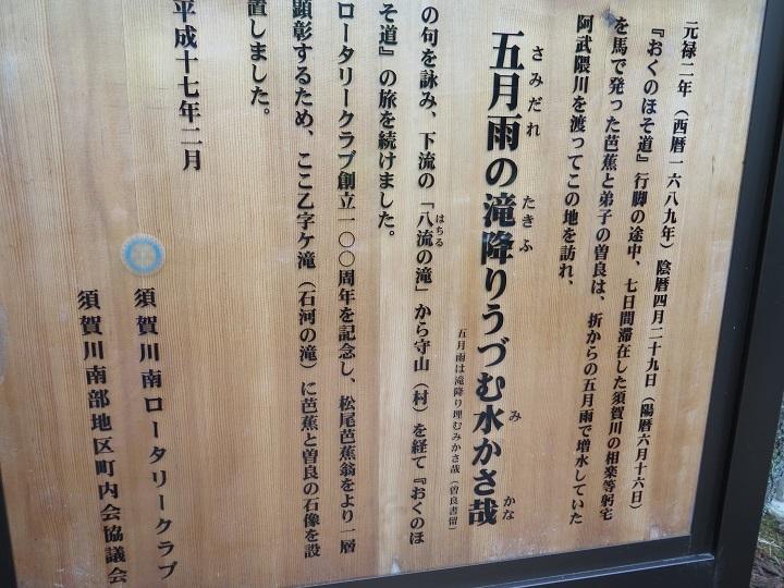 乙字ヶ滝案内板