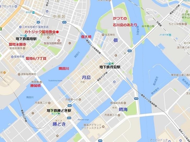 築地月島地図