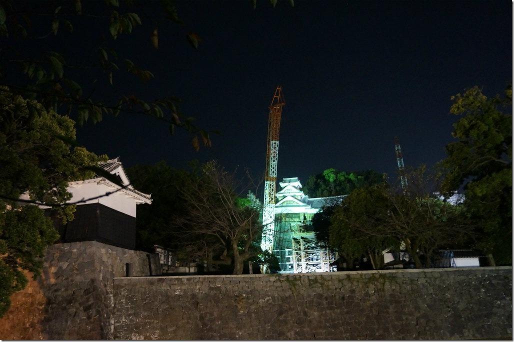 熊本駅 熊本電鉄 熊本市電 熊本城 復興 ライトアップ 北岡神社 石垣 倒壊