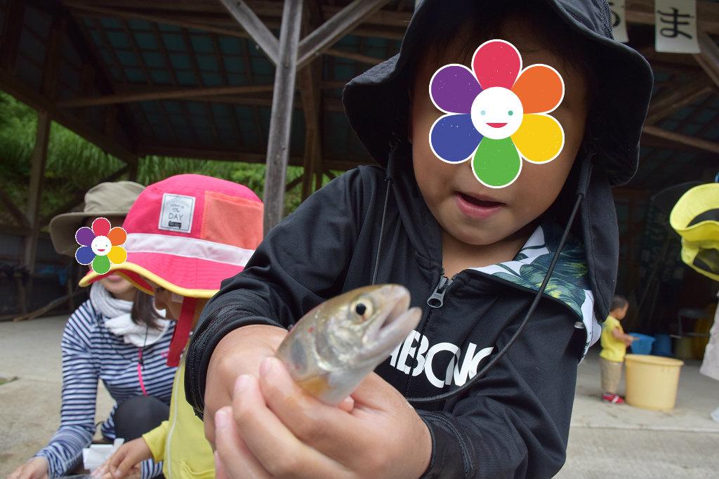 魚のつかみ取りと川遊び みつえ青少年旅行村3