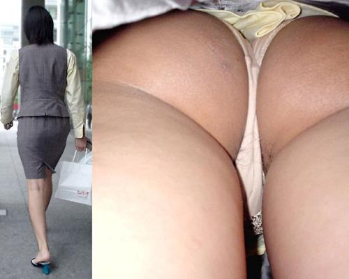 【OL逆さ撮りパンチラエロ画像】働くお姉さんのパンストに包まれた股間のムレムレ具合とパンツが最高www