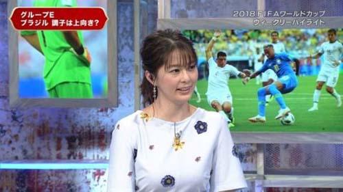 NHK杉浦友紀アナ(36)サッカーボール乳房で今日、試合する日本代表を応援wwwww(画像あり)