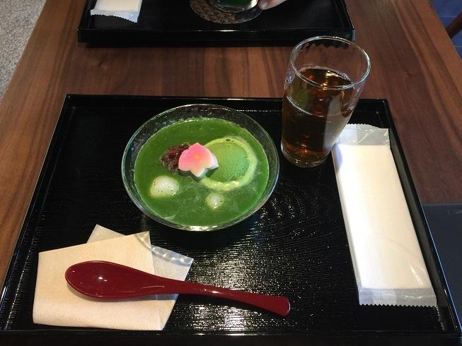 京都旅行冷製抹茶ぜんざい