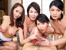 ダイスキ!人妻熟女動画 :エロすぎワロタw ザーメンを欲しがって男を食い散らかしていく熟痴女四姉妹!