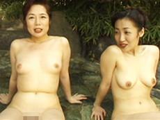 オバタリアン倶楽部 :【無修正】露天付き旅館で熟女と3P  波純子